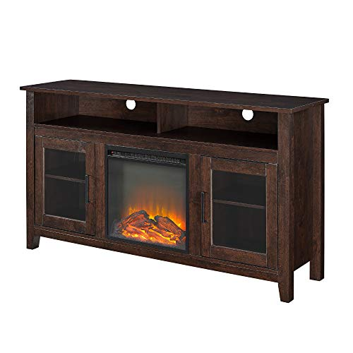 WE Furniture Tall Rustic Wood Fireplace Stand for TV's up to 6   4