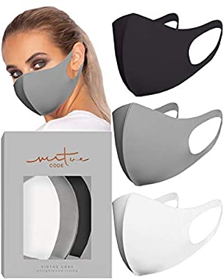Second Skin in Grayscale Face Mask by VIRTUE CODE Fabric Face Masks 3 Pieces Black Grey White from Virtue Code
