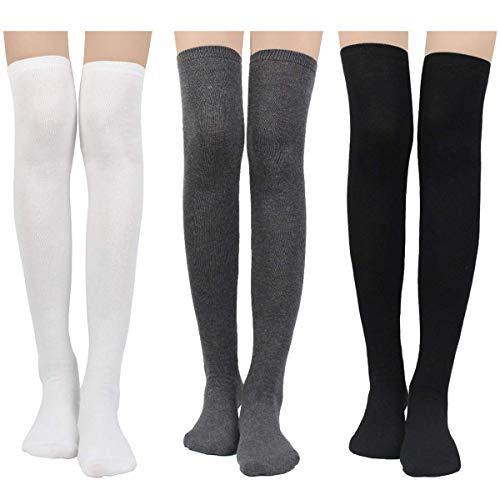 LADES Damen Kniestrümpfe - Overknee Strümpfe Streifen Lange Socken Retro Knitting Strümpfe Mädchen Cheerleader Sportsocken Durchschnittlicher Code, Black Schwarz-weiß-grau Solide