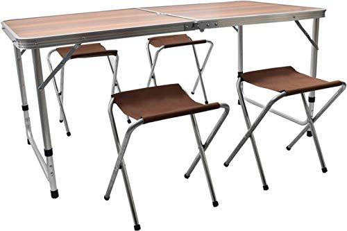 Mesa de camping plegable con 4 sillas para jardín, 60 x 120 x 70 cm