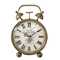 Vintage Clock, Analog Table Top Time Piece, Quartz Movement, Metal, Distressed Beige, Brown Finish, 9.0 L x 6.25 W x 5.0 H Inches, (23.0 L x 16.0 W x 13.0 H) 1 AA Battery (Not Included)