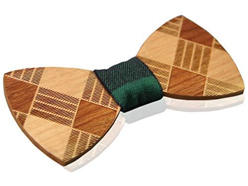 YFWOOD Hombre Pajarita hecha a mano Cherrywood Checkerd Madera Auto corbata Tallada en madera Traje Traje Bowtie Pre Atado con correa ajustable