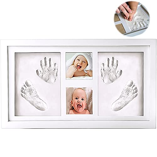 McNory Cornice Impronte Bimbo in Argilla,Cornice Impronte Neonato Set Impronte Bimbi Bambino,Kit Portafoto con Impronta della Manina e del Piedino del Bebè-Il regalo bimbo perfetto