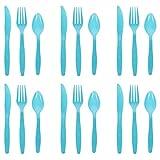 PRETYZOOOM, set di 48 posate in plastica usa e getta per feste di compleanno, cena, 16 forchette, 16 cucchiai, 16 coltelli per matrimoni, Natale e accessori per feste