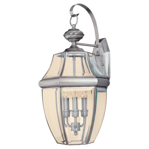 Sea Gull Lighting 8040-965 3-Light Lancaster Medium Outdoor Wall Lantern, Clear Beveled Glass and Antique Brushed Nickel
