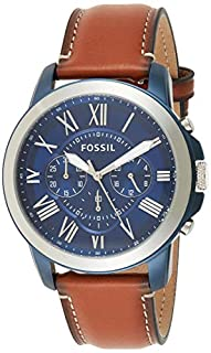 Fossil Men's Grant Quartz Stainless Steel and Leather Chronograph Watch, Color: Silver/Blue, Luggage (Model: FS5151) (B017SN1OI8)   Amazon price tracker / tracking, Amazon price history charts, Amazon price watches, Amazon price drop alerts