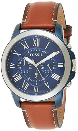 Fossil Men's Grant Stainless Steel Quartz Watch with Leather Calfskin Strap, Silver/Blue IP, 22 (Model: FS5151)