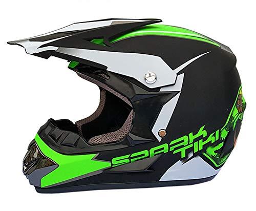 LDJ Casco de motocross con gafas y guantes, unisex, para moto, casco de motocross, casco de protección integral, casco de motocross, para descenso, bicicleta de montaña, BMX, Off Road ATV (verde, S)