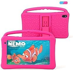 Kinder Tablet 7 Zoll IPS-Bildschirm Quad-Core Android 10.0 2 GB RAM 32 GB ROM Google Play Vorinstalliert mit Blau Proof Case GMS-Zertifiziertem Kinder Spielzeug Kindergeschenk (rosa)