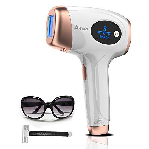ACTION IPL Haarentfernung Haarentfernungsgerät für dauerhaft schmerzlose Haarentfernung für Körper und Gesicht Präzisionsaufsatz für Intimbereiche, 600,000 Lichtimpulse Blitze