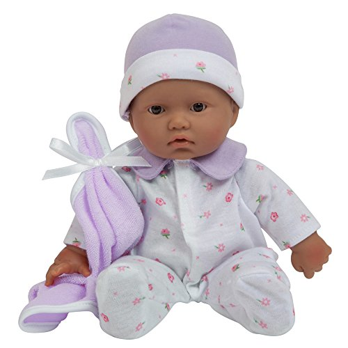 La Baby Boutique Hispanic 11 inch Small Soft Body Baby Doll dressed in Purple for Children 12 Months and older