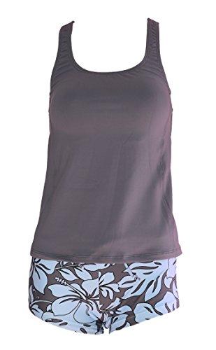 Private Island Women UPF50+ Tankini Bathing Swimsuits Sleeveless Tank Bra Top Swim Rash Guard (XXXL, Grey)