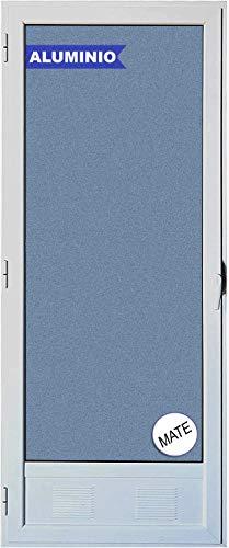 Ventanastock Puerta Balconera Aluminio Practicable Izquierda 800 ancho x 2000 alto con Rejilla de ventilación y cristal mate carglass 1 hoja
