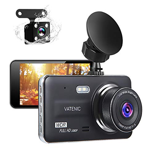 New Upgrate Dual Dash Cam Car Camera Recorder Full HD 1080P Front and Rear Cameras,Driving Loop Recording with 4.0' IPS Screen 170°Wide Angle, WDR,Parking Monitor, G-Sensor, Night Vision (4.0)