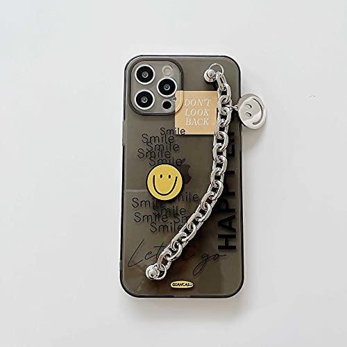 Cute Smiley Metal Cadena muñequera Funda para teléfono para iPhone 11 12 Pro MAX Funda Transparente TPU para iPhone XR XS MAX 7 8 Plus Funda, 4, para iPhone 12Pro