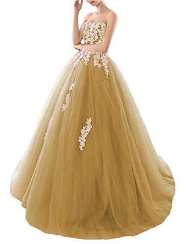 HUINI Quinceanera Kleider Lang Elegant Ballkleid Brautkleid Standesamt Glitzer Abendkleider Damen Tüll mit Schleppe Gold 56