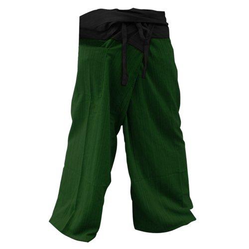 kittiya 2Tone Thai Fisherman Pants Yoga Trousers FREE SIZE Plus Size Cotton Striped Cotton Black Green