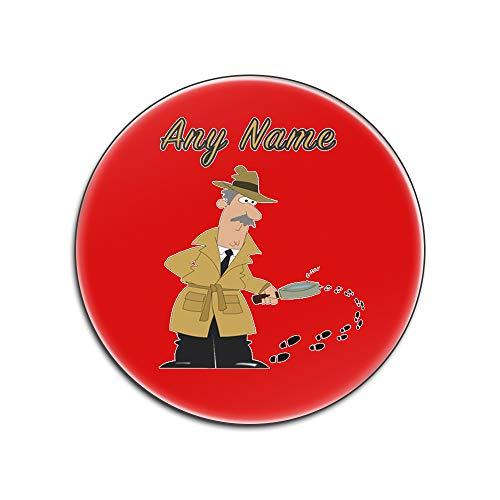 UNIGIFT Dessous de verre en panneau dur brillant (motif profession) pour tout nom et message unique – Tapis de sol pour l'agence Sherlock Holmes, Panneaux durs., Rouge, ROUND