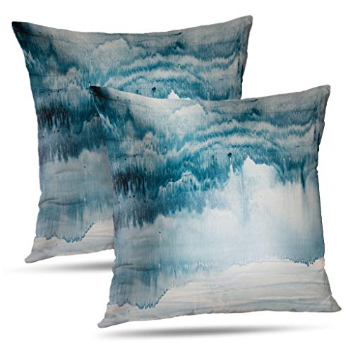 WAYATO Decorative Throw Pillow Covers, Square Pillow Cover Oil-Painting 18 x 18 Watercolor Abstract Oil Canvas Ocean Ink Double-Sided Pattern Square Sofa Cushion Covers for Living Room