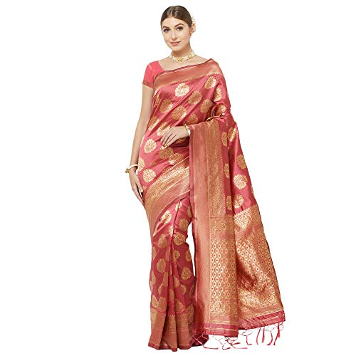 IDIKA Women's Banarasi Art Silk Saree With Blouse Piece (IDIKA_Peach)