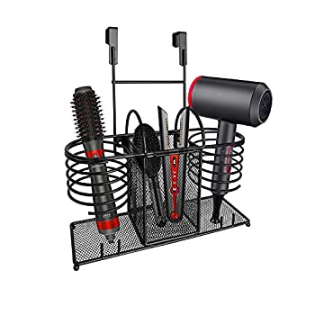 Sunlit 3 in 1 Wall Mount/Countertop/Over Cabinet Door Metal Wire Hair Product & Styling Tool Organizer Storage Basket Holder for Hair Dryer Brushes Flat Iron Curling Wand Hair Straightener Black