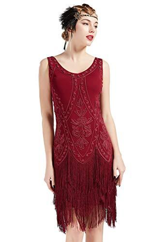 Coucoland 1920s Kleid Damen Flapper Kleid ohne Ärmel V Ausschnitt Knielang Charleston Kleid Gatsby Motto Party Damen Fasching Kostüm Kleid (Weinrot, XXL)