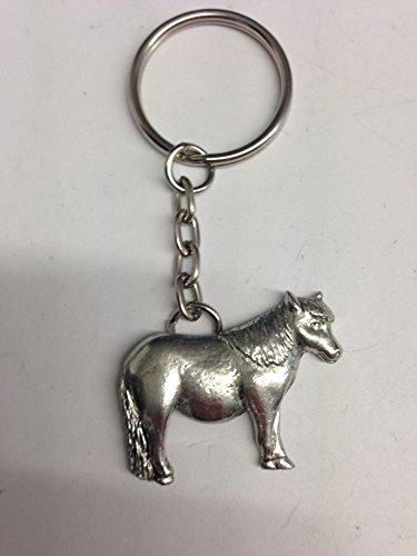 Anhänger Shetland Pony E06 Pferd & Reiter, aus feinem englischen Zinn, an Einem Schlüsselanhänger mit Spaltring