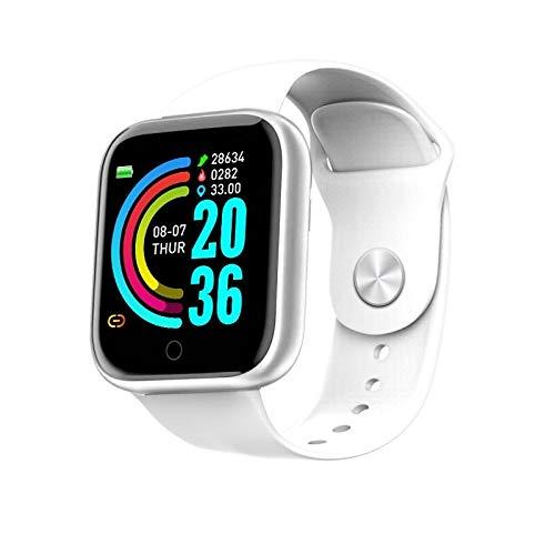 Reloj Inteligente Juvenil, Pantalla de Color IPS de 1.3 Pulgadas, IP67 Impermeable, monitoreo del sueño, presión Arterial, recordatorio de Llamada de Soporte/Ritmo cardíaco (Color : White)
