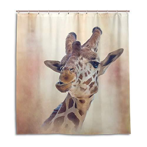 BIGJOKE Duschvorhang, Giraffe, afrikanisch, schimmelresistent, wasserdicht, Polyester, 12 Haken, 167,6 x 182,9 cm, Heimdekoration