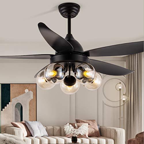 JAKROO Moderna Ventilador De Techo Luz, Elegante Luz De Ventilador Interior, con Mando A Distancia, Velocidad del Viento Ajustable, para El Comedor del Dormitorio, 5 Hojas, Negro