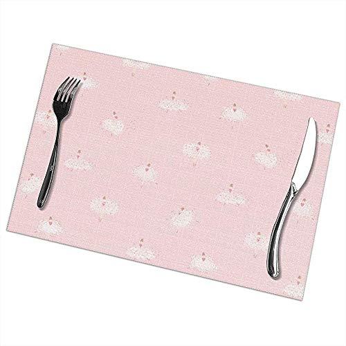 Hao-shop hittebestendige placemats set van 6 eettafel placemats ballerina placemats antislip wasbaar