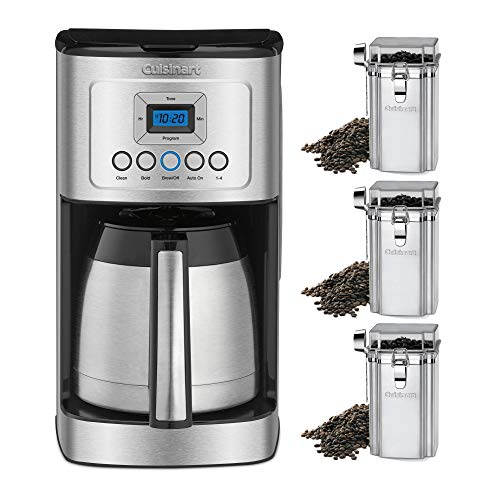 Cuisinart DCC-3400 Thermal Coffeemaker, Carafe, 12 Cup Stainless Steel Includes 3 Coffee Bean Canisters (4 Items)