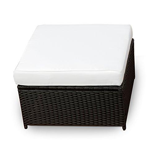 XINRO® (1er Polyrattan Lounge Hocker - Gartenmöbel Hocker Rattan - durch andere Polyrattan Lounge Gartenmöbel Elemente erweiterbar - In/Outdoor - handgeflochten - schwarz