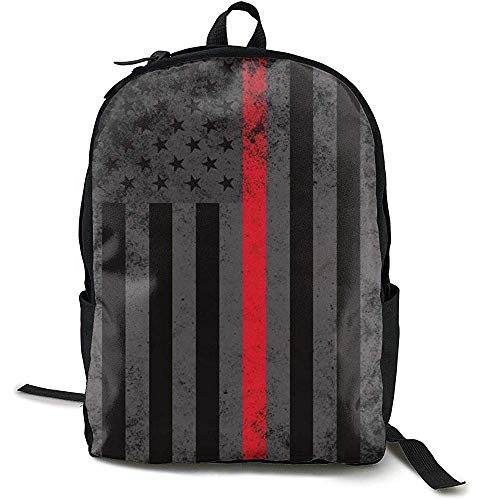 Boekentas, Reizen Rugzak Grote Luiertas - American Fire Fighter Dunne Rode Lijn Vlag Rugzak School Rugzak voor Vrouwen & Mannen