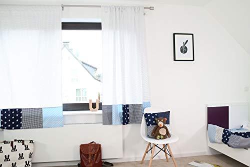 ULLENBOOM ® 2er Set Vorhänge Kinderzimmer 140x170 cm Blau Hellblau Grau (Made in EU) - Patchwork Vorhang Kinderzimmer & Babyzimmer, 2 Kindergardinen Schals aus Baumwolle, Motiv: Sterne, Punkte