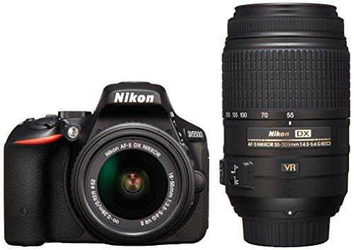 Nikon デジタル一眼レフカメラ D5500 ダブルズームキット ブラック 2416万画素 3.2型液晶 タッチパネルD5500WZBK