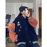 2021 Abrigo para Las Mujeres Primavera Uniforme de béisbol Abrigo de Estilo de la Calle Harajuku de otoño Suelto Talla Grande BF Chaqueta de Costura