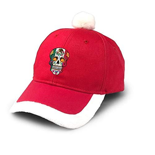 Sombrero de camionero Da de los Muertos Mxico Halloween Navidad Sombrero de bisbol de algodn Pap Sombrero de Pap Noel Disfraz Rojo