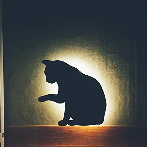 Lámpara de pared LED para silueta de sensor de sonido de vibración para interiores de luz de pared de gato para Halloween