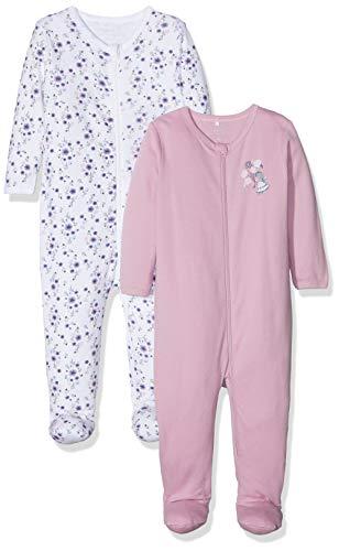 NAME IT Baby-Mädchen NBFNIGHTSUIT 2P Zip W/F NOOS Schlafstrampler, Mehrfarbig (Mauve Mist Mauve Mist), 74 (2er Pack)