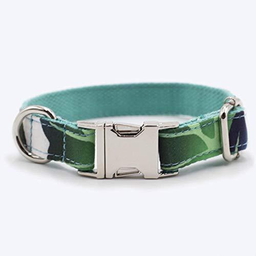 Collar De Perro Collar para Mascotas Viento Collar para Mascotas Amazon Caliente Planta Tropical Mascota Collar para Perro Planta Verde Hebilla De Aleación Anillo para Perro -XS