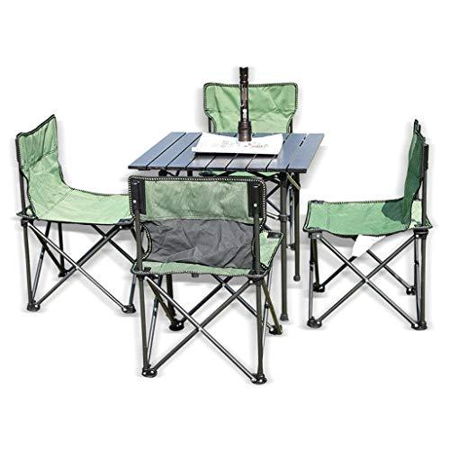 Nologo Acampa Portable Mesa y sillas de Picnic heces Conjunto, Silla de campaña al Aire Libre Juego de Mesa con 4 Silla Plegable Ocio BTZHY