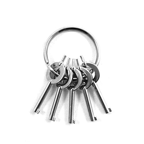 ASR Tactical AHSK-5 American Universal Handcuff Keys, Silver, 5 Pack