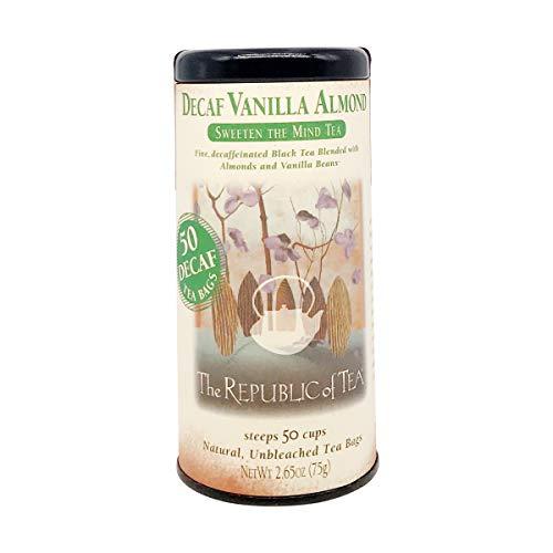 The Republic of Tea Decaf Vanilla Almond Black Tea, Tin of 50 Tea Bags
