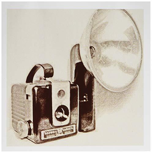 3drose foto van een vintage camera in 1950 met flash lamp – wenskaarten, 6 by foto, 6 stuks (GC 20726 1)