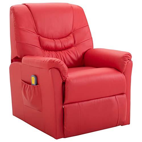 Irfora Massagesessel Fernsehsessel Relaxsessel mit Wärmefunktion TV Sessel Liegesessel Liegefunktion Heizung Relaxliege Elektrisch Ruhesessel Massage Chair, Rot Kunstleder