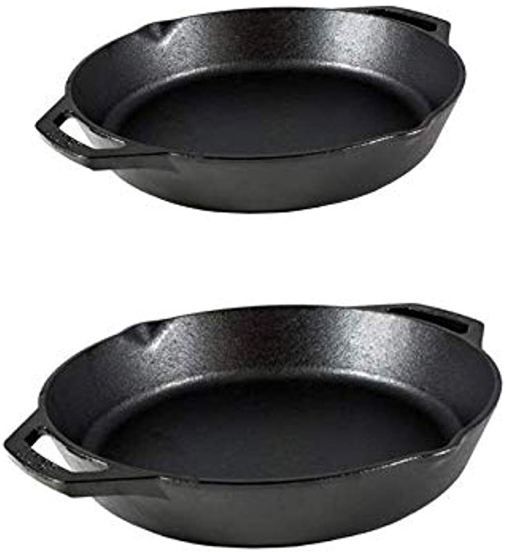 Lodge Cast Iron 2 Piece Bundle 12 Inch And 10 25 Inches Ergonomic Heat Treated And Pre Seasoned Cast Iron Pans With Two Loop Style Handles Made In The USA