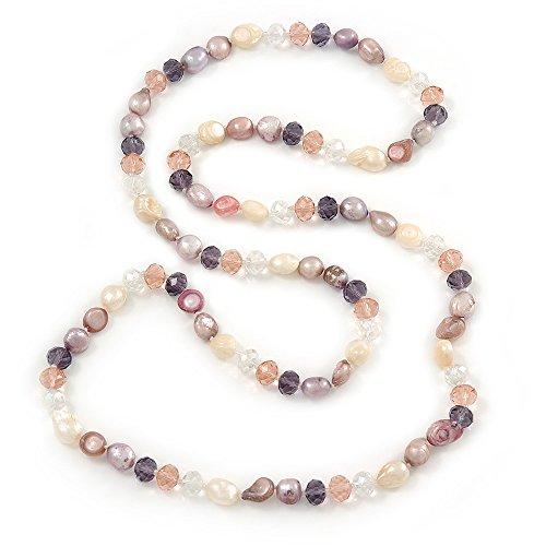 Lunghezza corda: Rosa/Viola/Lavanda in stile barocco con perle d'acqua dolce, a forma di collana di perline in vetro multicolore, lunghezza: 96 cm