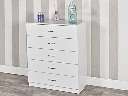 URBNLIVING - Cómoda de madera para dormitorio con 4 o 5 cajones, Caja blanca + cajones blancos., 5 Drawers