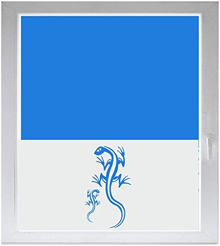 INDIGOS UG Sichtschutzfolie Glasdekorfolie Fensterfolie mit Motiv satiniert Blickdicht - w019 Gecko 2 Geckos - 1000 mm Länge - 500 mm Höhe Viereck